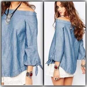 Free People | Chambray Off-The-Shoulder Top